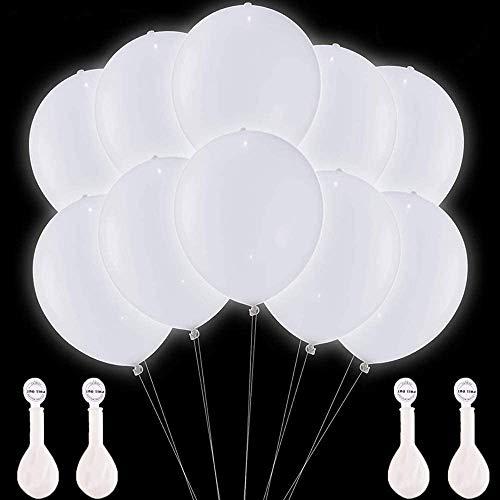 Amaza LED Leuchtende Luftballons, 36 Stück 30cm LED Ballons für Party, Geburtstag, Hochzeit, Festival, Weihnachten (Weiß) (36 Stück)