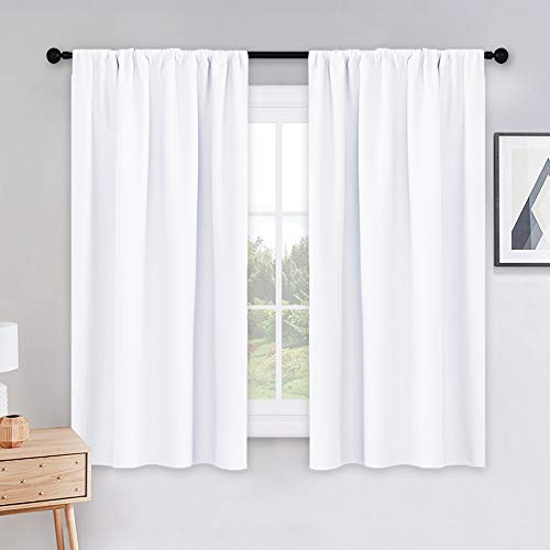 PONY DANCE Curtains 45 inch Length - Window Drapes Double Panels Home Decor Rod Pocket Curtain Draperies for Kitchen & Bedroom Privacy Protect Semi-Blackout, 42 by 45 inch, Pure White, 2 Pieces
