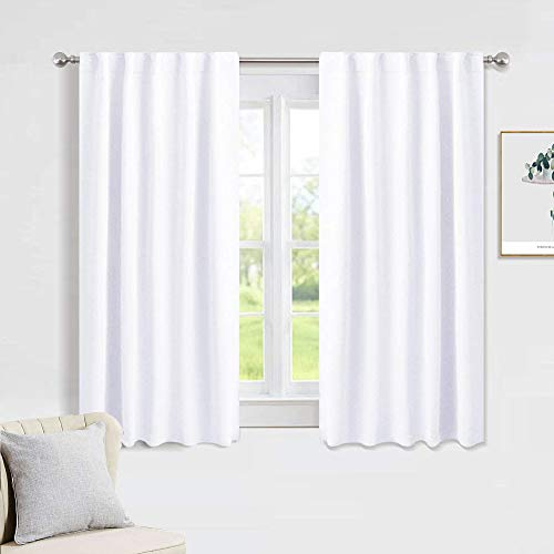 PONY DANCE White Window Curtains - Window Dressing Soft Fabric Room Darkening Back Tab/Rod Pocket Kids Curtain Drapes Privacy Protect for Bedroom & Bathroom, 42 W x 54 inch L, Pure White, 2 PCs