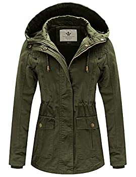 WenVen Women s Spring Cotton Military Coat Anorak Hooded Jacket Army Green S