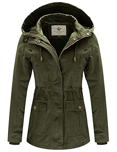WenVen Women's Spring Cotton Military Coat Anorak Hooded Jacket(Army Green, L)