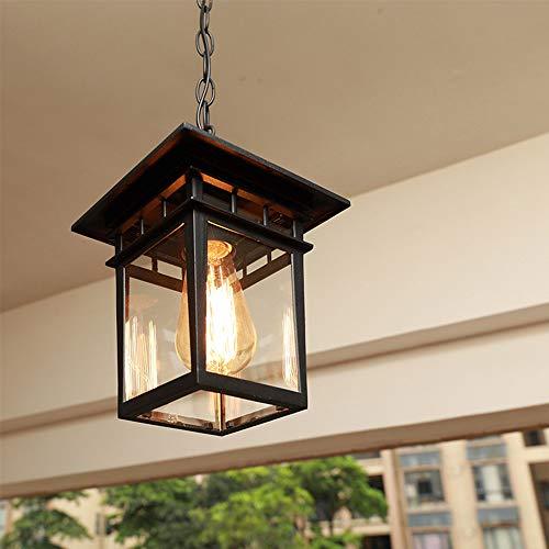 Mengjay Vintage Lámparas de Techo de Metal y Vidrio Araña Lámparas de Techo al Aire Libre Impermeables Antiguo Exterior Iluminación Colgante para Jardín Balcón Patio (Negro)