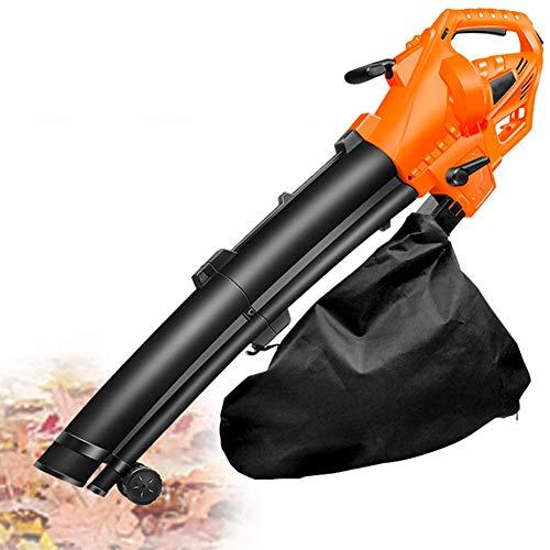 Nuevo y conveniente soplador de hojas eléctrico, aspiradora y trituradora 3 en 1 para limpiar céspedes de jardín, con bolsa de recolección de 35 l y rodillo, regulación de velocidad de 6 velocidades,