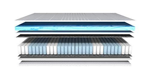 AM Qualitätsmatratzen - Gelschaum-Matratze 90x200cm H2 - Taschenfederkernmatratze Gelschaum 90 x 200 - Matratze mit integrierter 6cm Gelschaum-Auflage - 24cm Höhe - Made in Germany