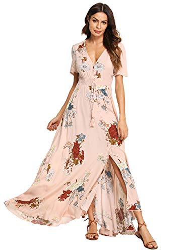Milumia Women's Button Up Split Floral Print Flowy Party Maxi Dress Small Pink