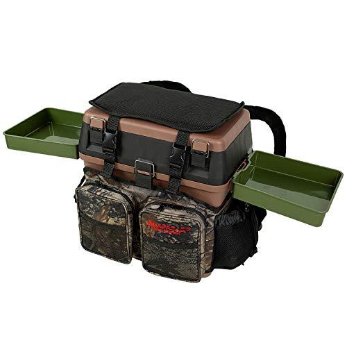 Sitzkiepe Angelbox Sitz- und Gerätekasten inklusive Vier Kunststoffboxen - Braun/Camouflage + 2 Futterwannen