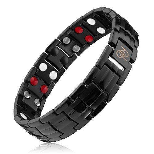 Titanium Magnetic Therapy Bracelet | 4000 Gauss | Rare Earth Magnets |...