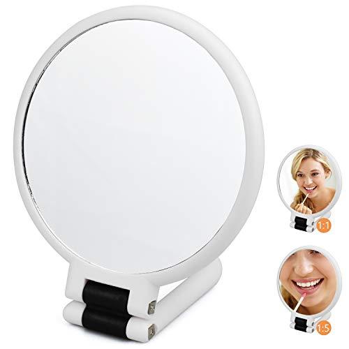 DESON Espejo Maquillaje, Espejo de Doble Cara para Maquillaje, Espejo Plegable con Mango, Espejo de Mano con Aumentos 1x/5x, Portátil
