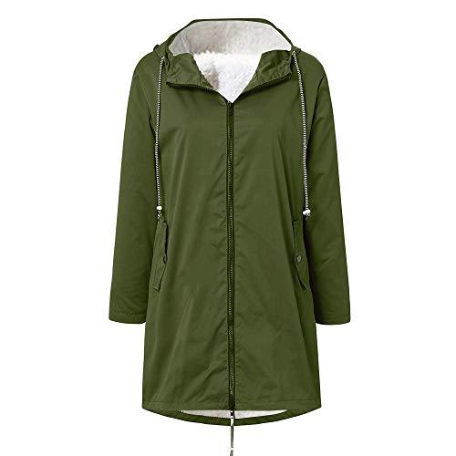 Pianshanzi Chaqueta de invierno para mujer, chaqueta de softshell, chubasquero forrado, impermeable, transpirable, cálida, para exterior, con capucha, cortavientos, A verde., 5X-Large