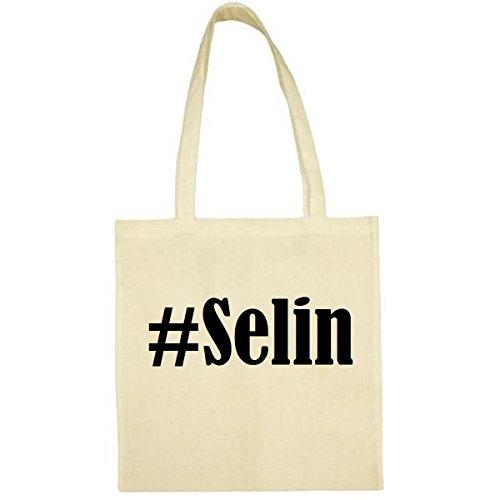 Tasche #Selin Größe 38x42 Farbe Natur Druck Schwarz