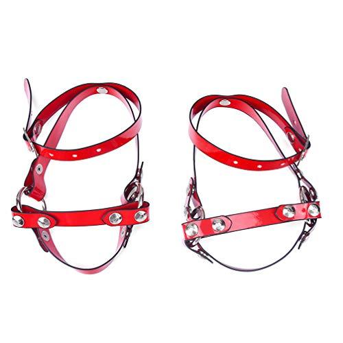 FENICAL 1 par de correas de zapatos desmontables tacones altos cordones de zapato de charol con remaches metálicos accesorios de repuesto para cordones de zapatos (rojo)