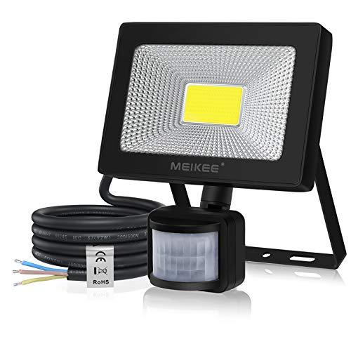MEIKEE 50W LED Strahler mit Bewegungsmelder Superhell 5000LM LED Fluter IP66 Wasserdicht Außenstrahler 6500K Tageslichtweiß Scheinwerfer Außenbeleuchtung für Hof, Garage, Garten