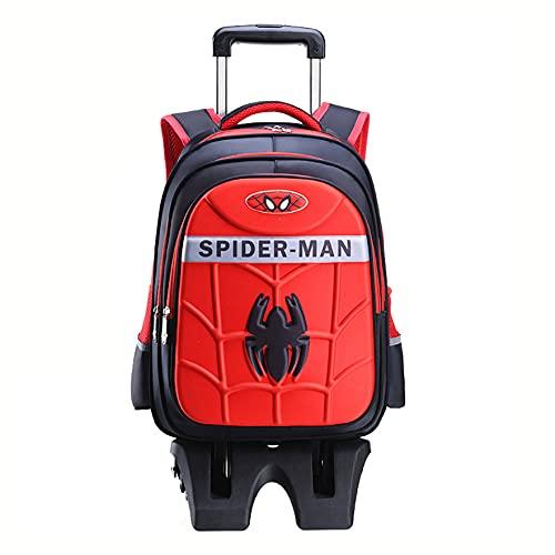 XNheadPS Enfants Spiderman Sacs À Dos Trolley Cartable Sac De Cabine Valise avec Roues Et Poignée Télescopique Idéal pour Les Séjours Vacances, Soirées Pyjamas,Red-Six Wheel