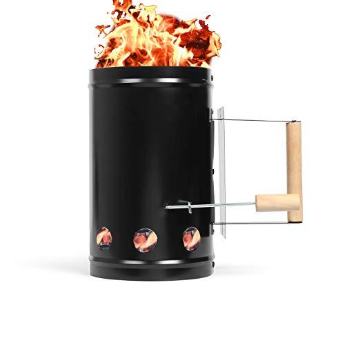 Encendedor para barbacoa, chimenea de encendido para carbón vegetal, acero galvanizado con mango de madera (encendedor de carbón de barbacoa, 1 litro, encendedor, accesorio para barbacoa)