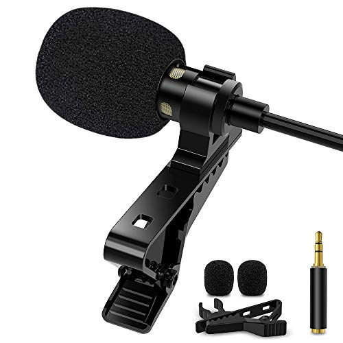 1Mii Lavalier Lapel Microphone Clip-on Omnidirectional Condenser Recording Mic for iPhone Android & Windows Smartphones, YouTube, Interview, Studio, Video Recording