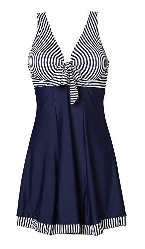 MiYang Women's One Piece High Waist Padded Swim Dress, Navy Stripe, Tag Size XL=S (US 4-6)