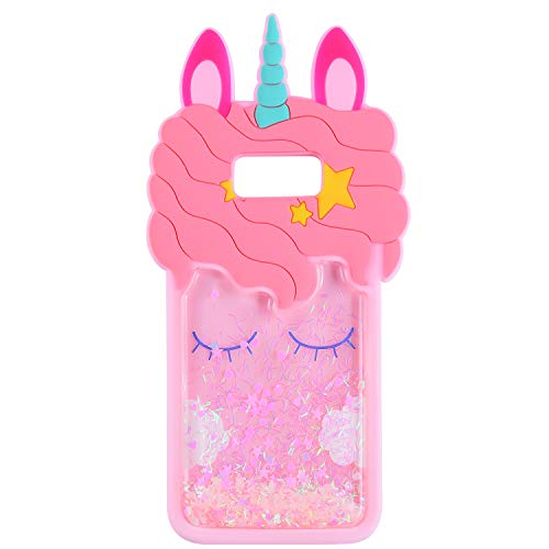 Quicksand Unicorn Pink Case for Samsung Galaxy S7 Edge,Soft Cute Silicone 3D Cartoon Animal Cover,Shockproof Cases,Kids Girls Bling Glitter Rubber Kawaii Character Protector for Samsung S7edge