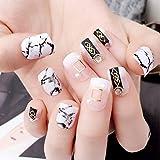 Qulin Kunstnägel, Marmor-Stil, künstliche Fingernägel, kurz, oval, vollständige Abdeckung, Nietenspitzen, Perlen, Strasssteine, zum Aufdrücken auf Nagel-Kunststoff mit Kleber