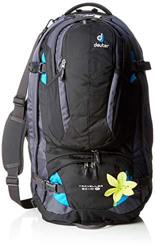 deuter Traveller 60 + 10 SL Sac à Dos Mixte Adulte, Noir (Black/Turquoise), 24x36x45 Centimeters (W x H x L)