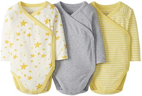 Moon and Back by Hanna Andersson Baby 3 Pack Long Sleeve Side Snap Bodysuit Light Yellow 0 3 product image