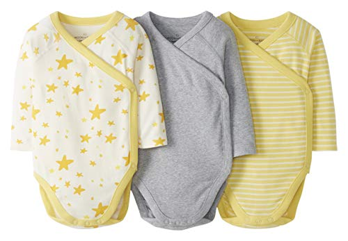 Moon and Back by Hanna Andersson 3 Pack Long Sleeve Side Snap Infant-and-Toddler-Bodysuits, Light Yellow, 0 Monate, 3er-Pack