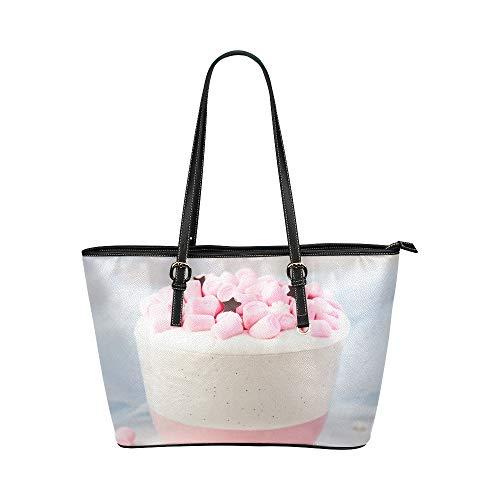 Plsdx Hot Pink Candy und Creme große Leder tragbare Top Griff Hand Totes Taschen kausalen Handtaschen mit Reißverschluss Schulter Shopping Geldbörse Gepäck Veranstalter für Lady Girls Womens