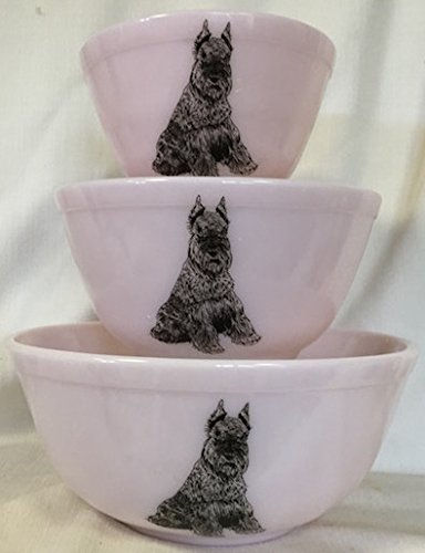 Mixing Nesting Bowls Set of three – American Made – Mosser (Pink w/Schnauzer Dogs)