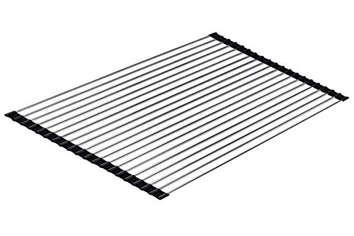 Ahyuan Large Roll-up Dish Drying Rack over the Sink Roll up Sink Drying Rack Portable Dish Rack Dish Drainer Foldable SUS304 Stainless Steel Dish Drying Rack (20.5''x14.2'')