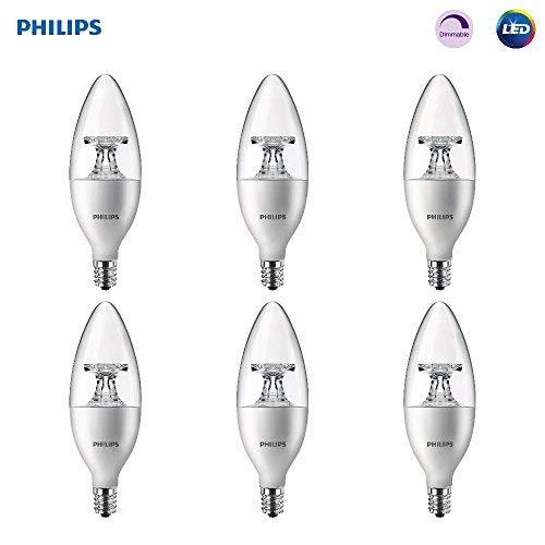 Philips LED 461905 Soft White 40 Watt Equivalent Dimmable B11 LED Light Bulb, Candelabra Base Frustation-Free 6 Pack