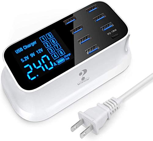 USB C Charging Station, 8 Ports Multiple USB Chargers with Fast Charger Port and LCD Display for iPhone 12 Cell Phones, Tablets and Other Electronics