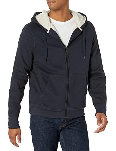 Amazon Essentials Sherpa Lined Full-Zip Hooded Fleece Sweatshirt Novelty-Hoodies, Bleu Marine, US (XL-XXL)