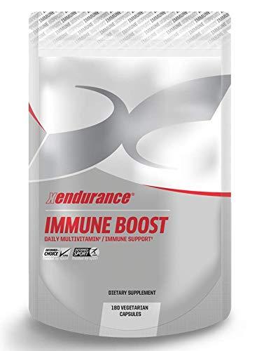 Xendurance Wellness Immune Boost, Multivitaminpräparat mit Phytonährstoffen und Antioxidantien, 30 Tage, 180 vegetarische Kapseln mit Vitamin A, C, D, E, B1, B2, B6, B12, Folsäure, Magnesium, Eisen, Kurkumaextrakt, Zink & Jod