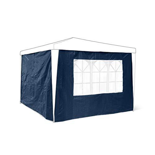 Relaxdays Pavillon-Seitenteile 2-er Set für 3 x 3 m Pavillons Seitenwand mit Fenster für Gartenpavillon und Faltpavillon 2 Teile mit Klettverschluss als Windschutz und Sichtschutz für Partyzelt, blau