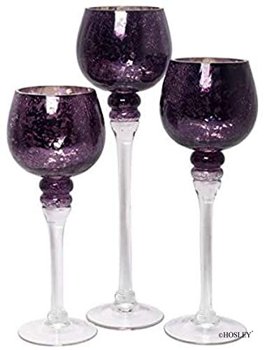 Hosley Set of 3 Crackle Glass Tealight Holders - Your Choice of Colors - 12 Inch, 10 Inch, 9 Inch (1-Purple)