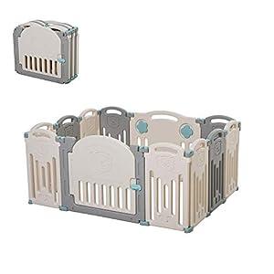 HOMCOM Parque Infantil Bebé con Puerta Corralito Plegable 12 Paneles para Niños de +6 Meses de Forma Flexible Interior y Exterior 108x133x58 cm Gris y Blanco