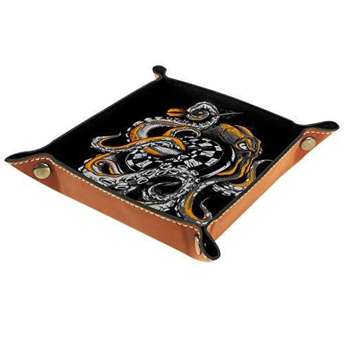 TIZORAX Octopus Monster Warp Dartscheibe Leder Aufbewahrungsbox Valet Tray Jewelry Organizer für Münzen, Schlüssel