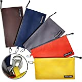 Canvas Tool Pouch Zipper Bag - 5 Pack Utility Bags Heavy Duty Metal Zippers Pouches with Carabiner, Multi Durable Storage Organizer Clip on Tote Bags by TENGYES