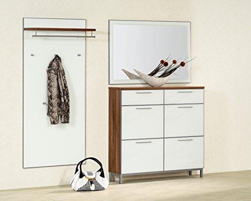 Santana Garderobe mit Spiegel weiß / nussbaum