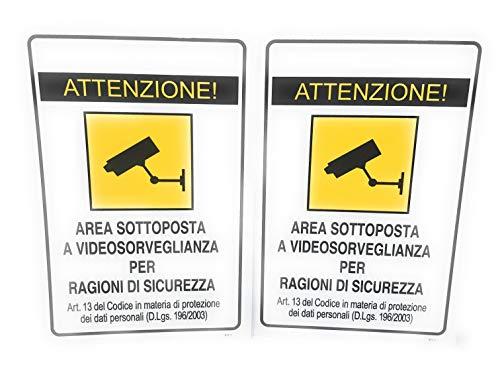 TEMPO DI SALDI 2 x Cartello Adesivo Area Sottoposta A Videosorveglianza X Esterno 30x20