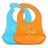 iRegro silicona para bebés baberos - menos cables, toallitas fácilmente limpio, mantiene su forma Con Easy Rolls arriba, ANCHO Food Catcher bolsillo, dos pieza juego de 2 colores (azul / naranja)