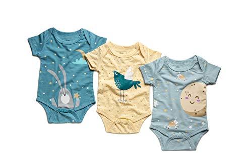 SIMMA Neugeborene Baby-Bodyanzüge für Jungen oder Mädchen, 3 Sets Bio-Bambuskleidung in Einer Geschenkbox (3-6 Monate)