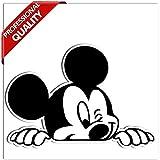 SkinoEu® Vinyl Lustiger Aufkleber Autoaufkleber Micky Maus Mickey Mouse Funny Sticker Auto Moto Motorrad Fahrrad Skate Helm Fenster Spiegel Tür Tuning B 87