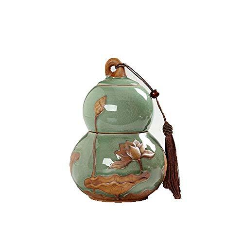 ZSPSHOP Urna Dell'animale Domestico Parenti Stretti E Caro Pet Cremazione Urna Souvenir Fiore D'elite Zucca Pot - Relief Lotus Pet Bara (Colore: Blu