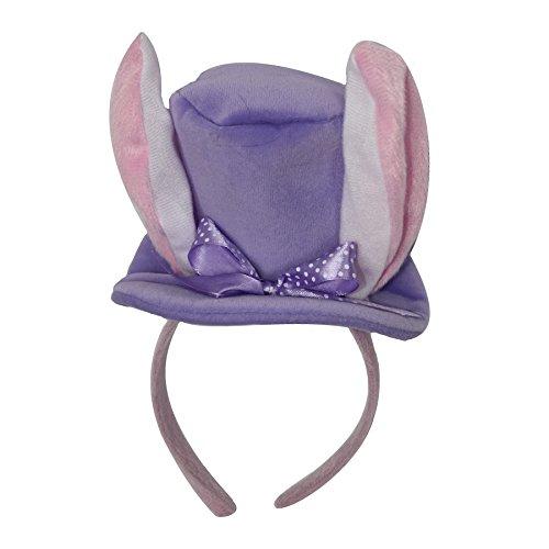 Purple Mini Easter Top hat Fascinator Headband with Plush Bunny Ears