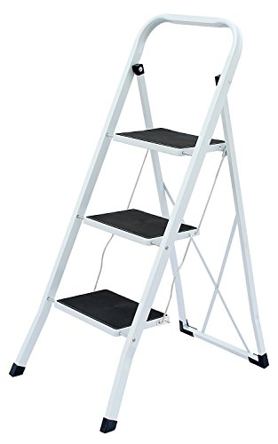 Uniware Heavy Duty Steel Step Ladder with Anti Slip Floors, Max Weight 150 KG /330 LB (2 Step Ladder)