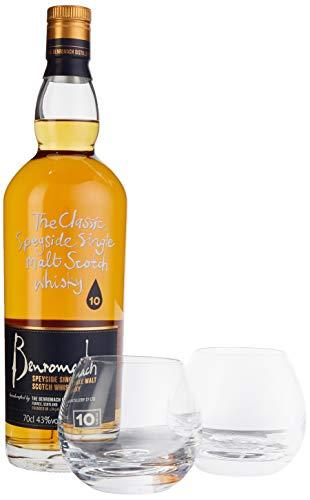 Benromach 10 Years Old mit Geschenkverpackung mit 2 Gläsern Whisky (1 x 0.7 l)