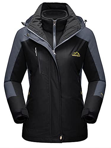 TACVASEN Damen 3in1 Rengenjacke Übergangsjacke Atmungsaktiv Wanderjacke Winter Warm Outdoorjacke Herbst Jacket Mit Kapuzen, Schwarz