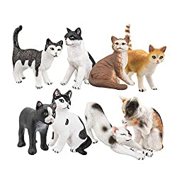 Gift for Cat Lovers Dollhouse Decors Ornaments Realistic Detailed Figures 1//12 Scale MagiDeal 2 Pieces Pet Cat Figurines Toys set