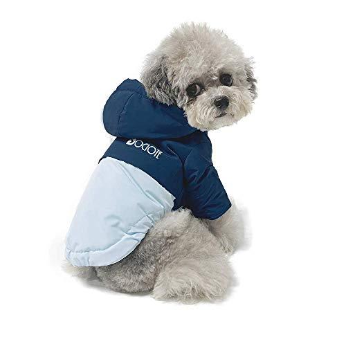 Dociote Hund Wintermantel Winterjacke mit Kragenloch & Kapuze Baumwolle Gepolstert Hundemantel Weste für kleine Hunde L Blau