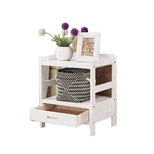 Productos para el hogar Mesita de Noche Mesita de Noche Mesa Auxiliar con cajón de Tela para Dormitorio Mesa Auxiliar Mesa de sofá Diseño Moderno Fácil Montaje y Resistente Blanco